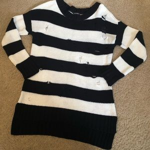 Express Black & White Distressed Rugby Sweater